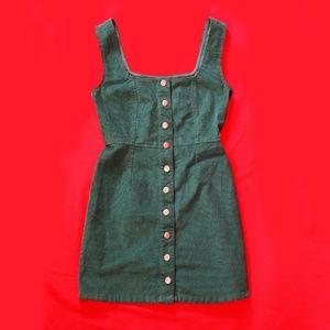 URBAN OUTFITTERS Corduroy Green Mini Dress S